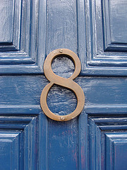 number 8 on a blue door