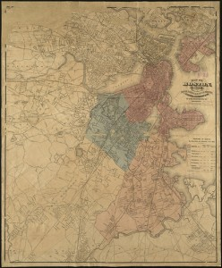handdrawn map of old boston