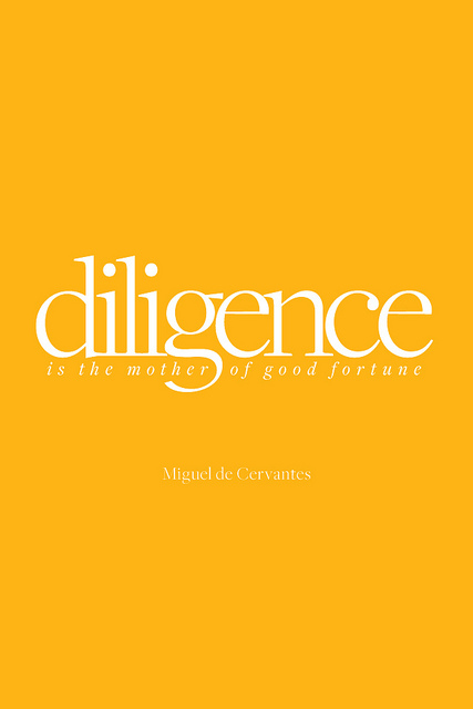 picture says: diligence is the mother of good fortunre